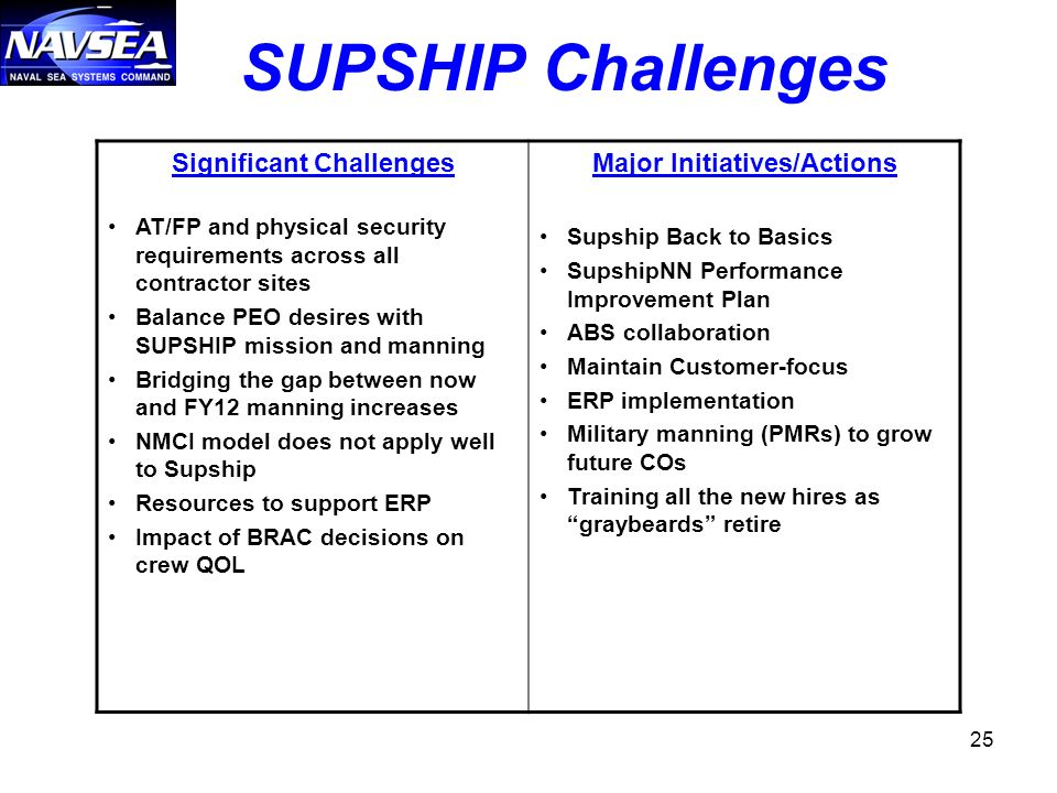 Significant Challenges Major Initiatives/Actions