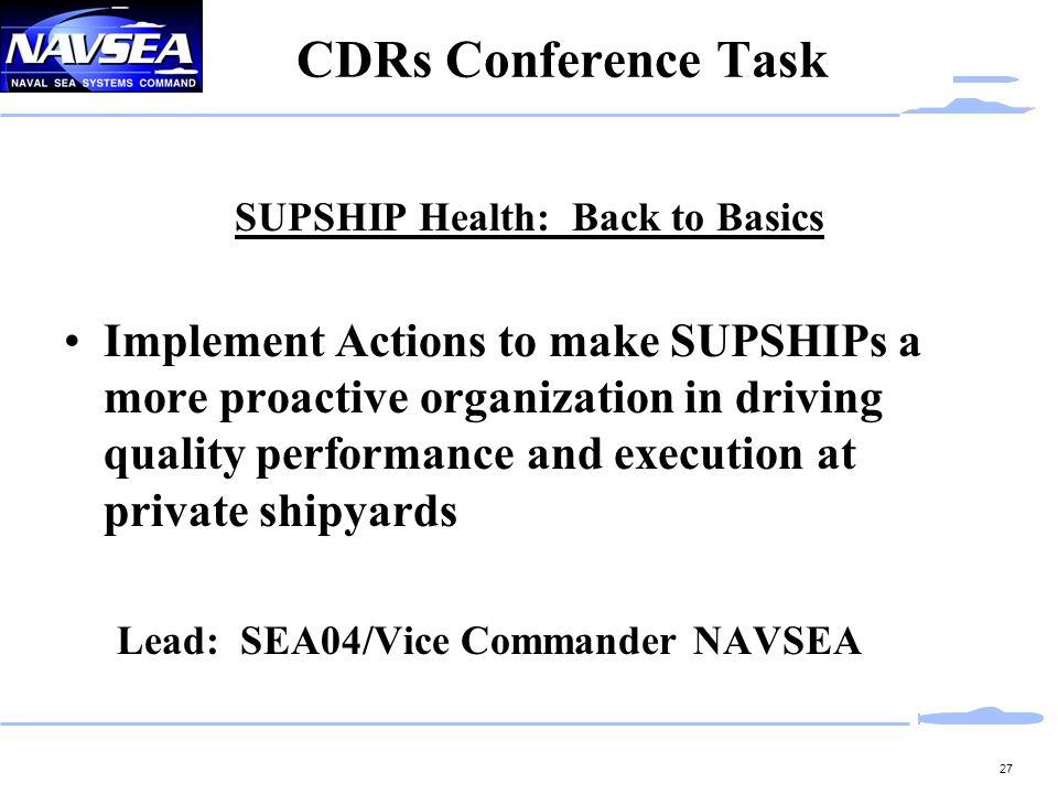 SUPSHIP Health: Back to Basics