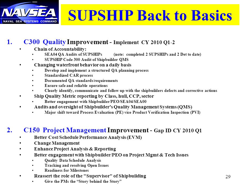 SUPSHIP Back to Basics C300 Quality Improvement - Implement CY 2010 Q1-2. Chain of Accountability: