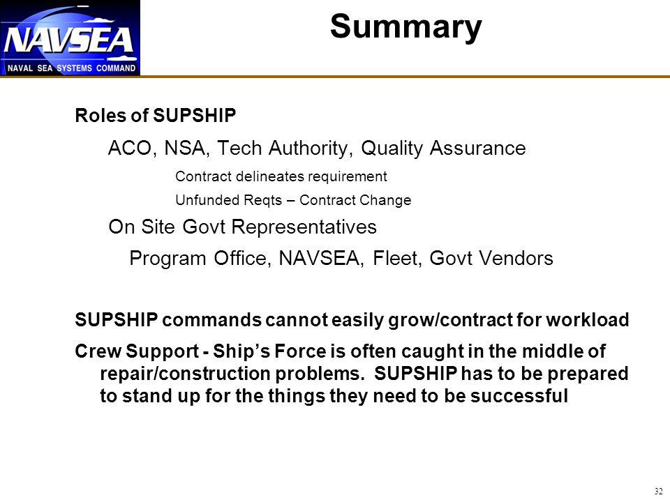 Summary ACO, NSA, Tech Authority, Quality Assurance