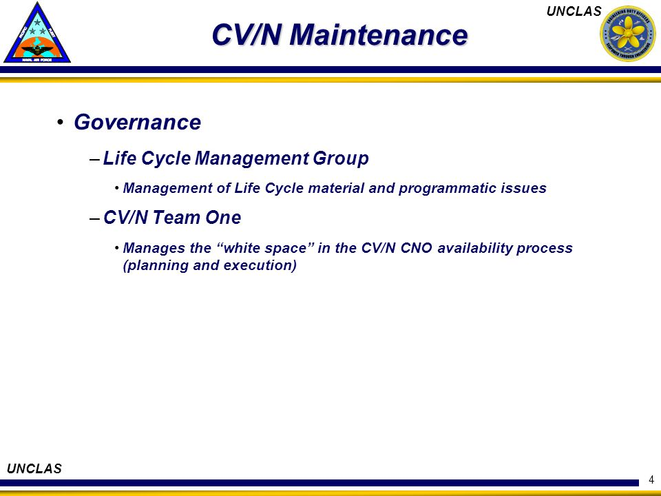 CV/N Maintenance Governance Life Cycle Management Group CV/N Team One
