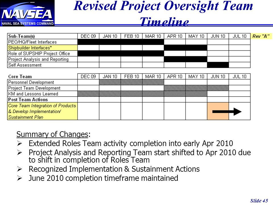 Revised Project Oversight Team Timeline