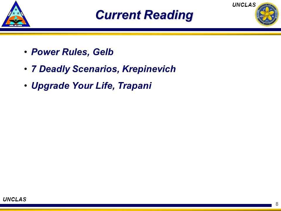 Current Reading Power Rules, Gelb 7 Deadly Scenarios, Krepinevich