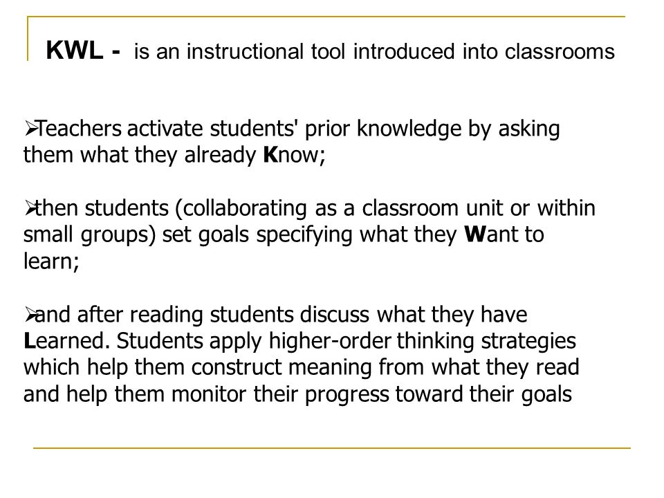 KWL - is an instructional tool introduced into classrooms