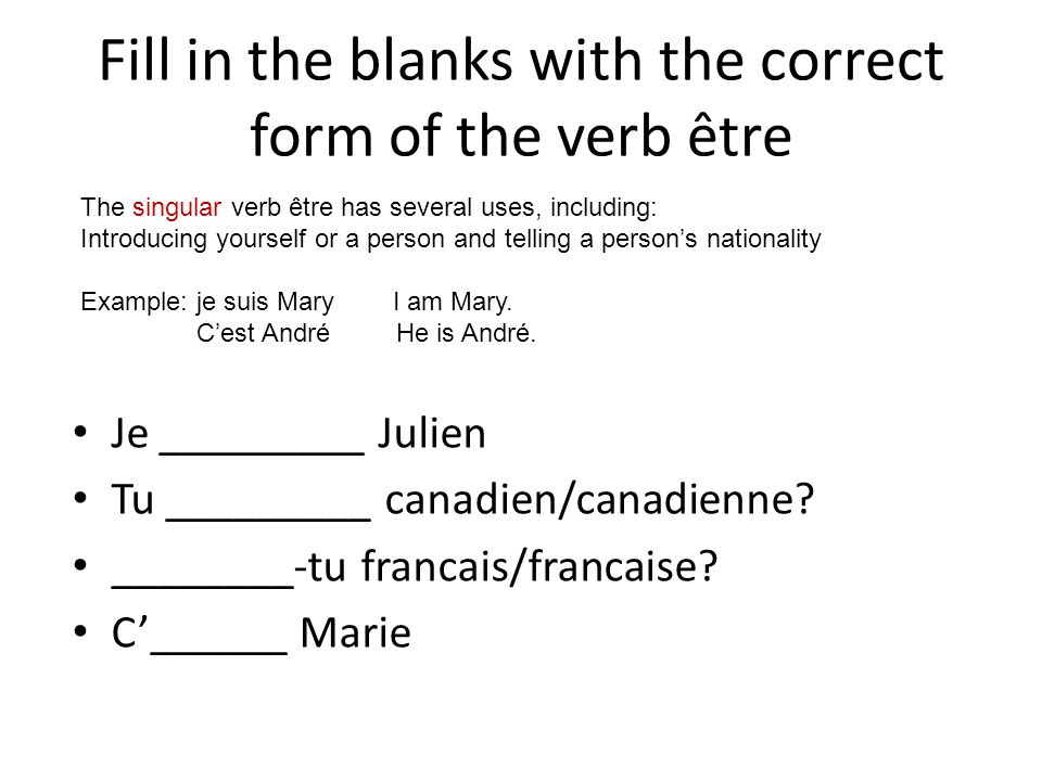 Fill in the blanks with the correct form of the verb être