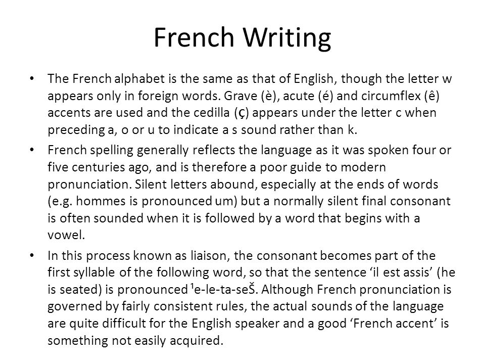 French Writing