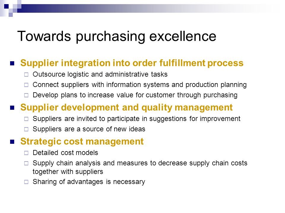 Towards purchasing excellence