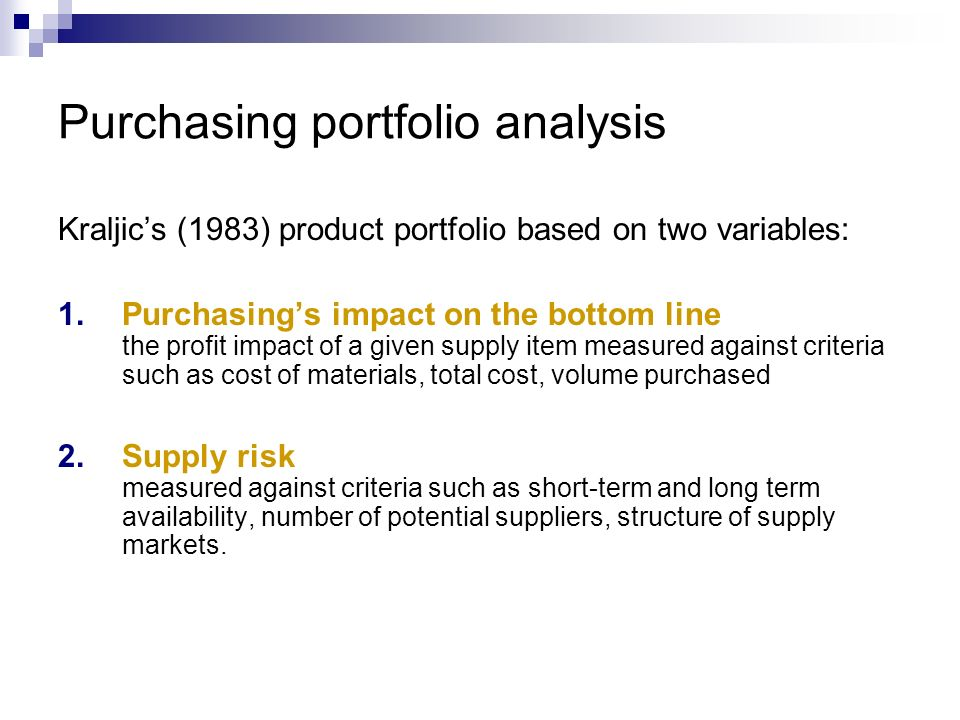Purchasing portfolio analysis