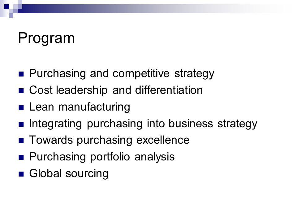 Program Purchasing and competitive strategy