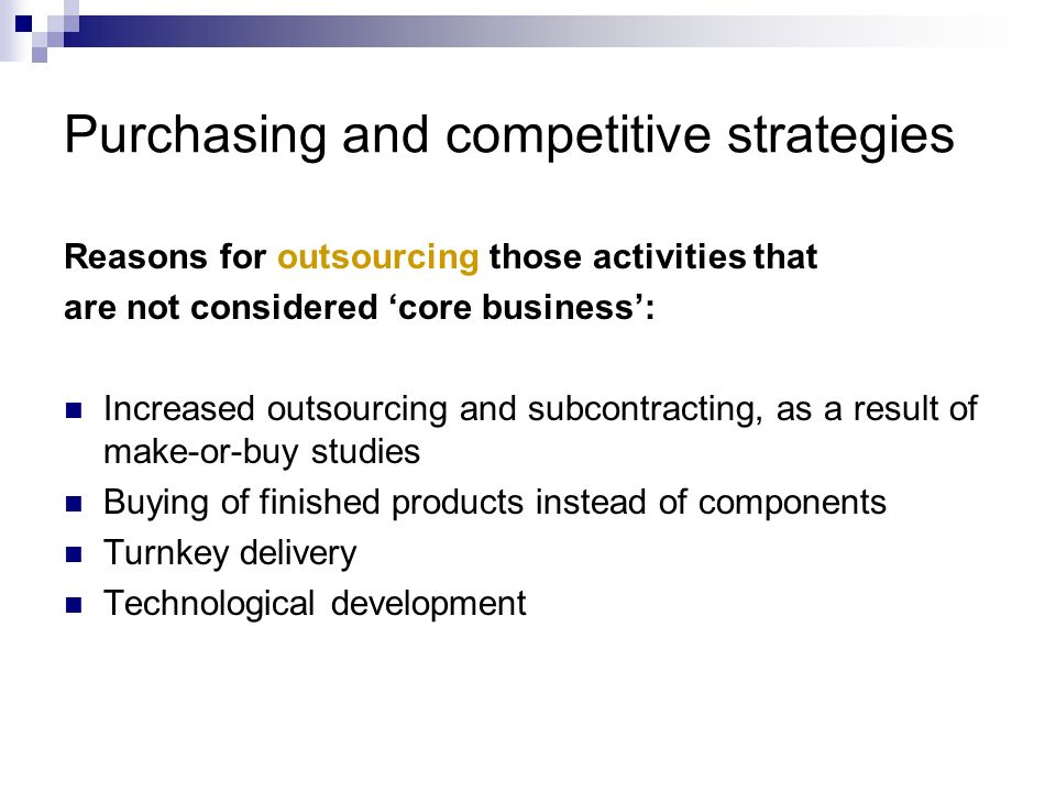 Purchasing and competitive strategies