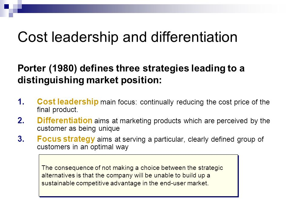 cost minimization differentiation and focus of Companies ultimately want to reduce costs and increase production the question they must answer is, how to accomplish this task in this lesson.