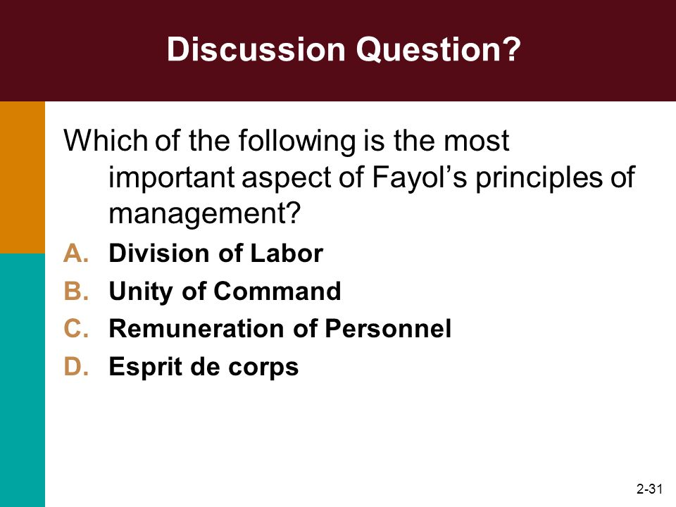 Discussion Question Which of the following is the most important aspect of Fayol's principles of management