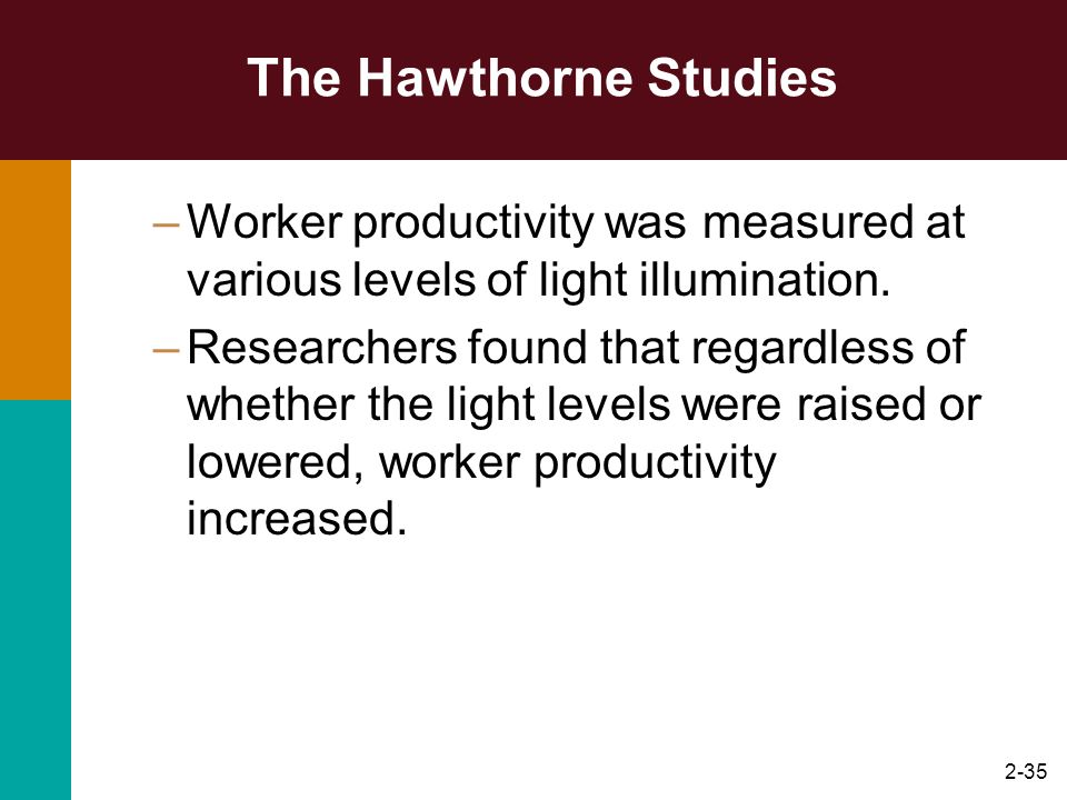 The Hawthorne Studies Worker productivity was measured at various levels of light illumination.
