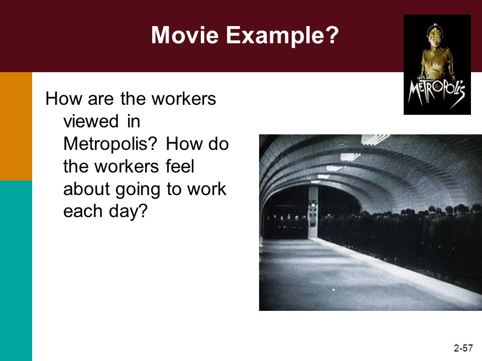 Movie Example How are the workers viewed in Metropolis How do the workers feel about going to work each day