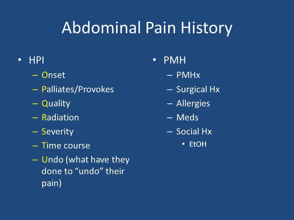 Abdominal Pain History