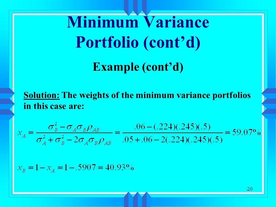 Minimum Variance Portfolio (cont'd)