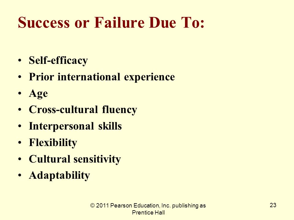 Success or Failure Due To: