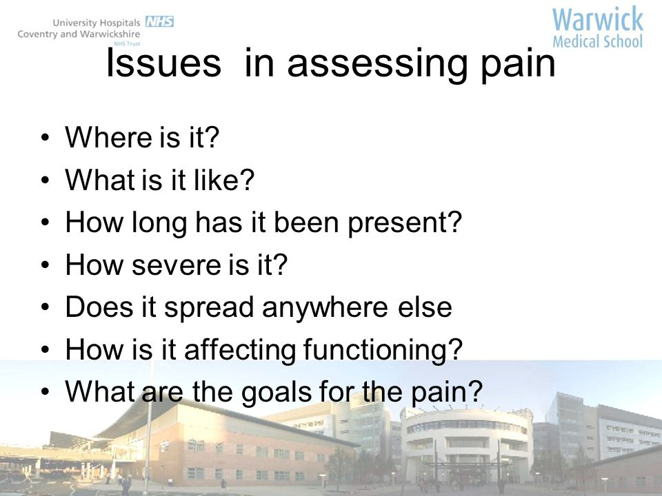 Issues in assessing pain
