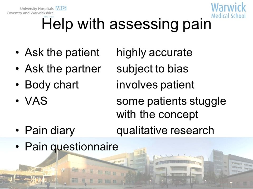 Help with assessing pain