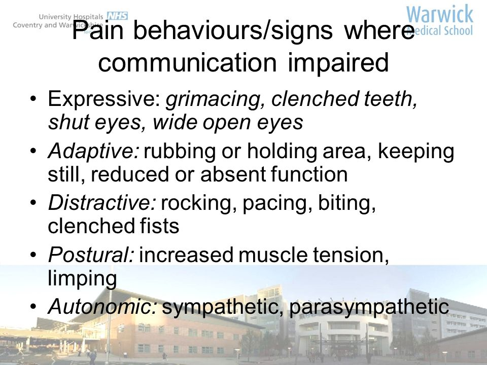 Pain behaviours/signs where communication impaired