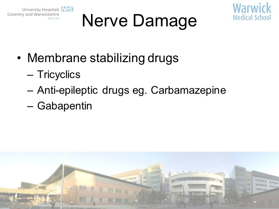 Nerve Damage Membrane stabilizing drugs Tricyclics
