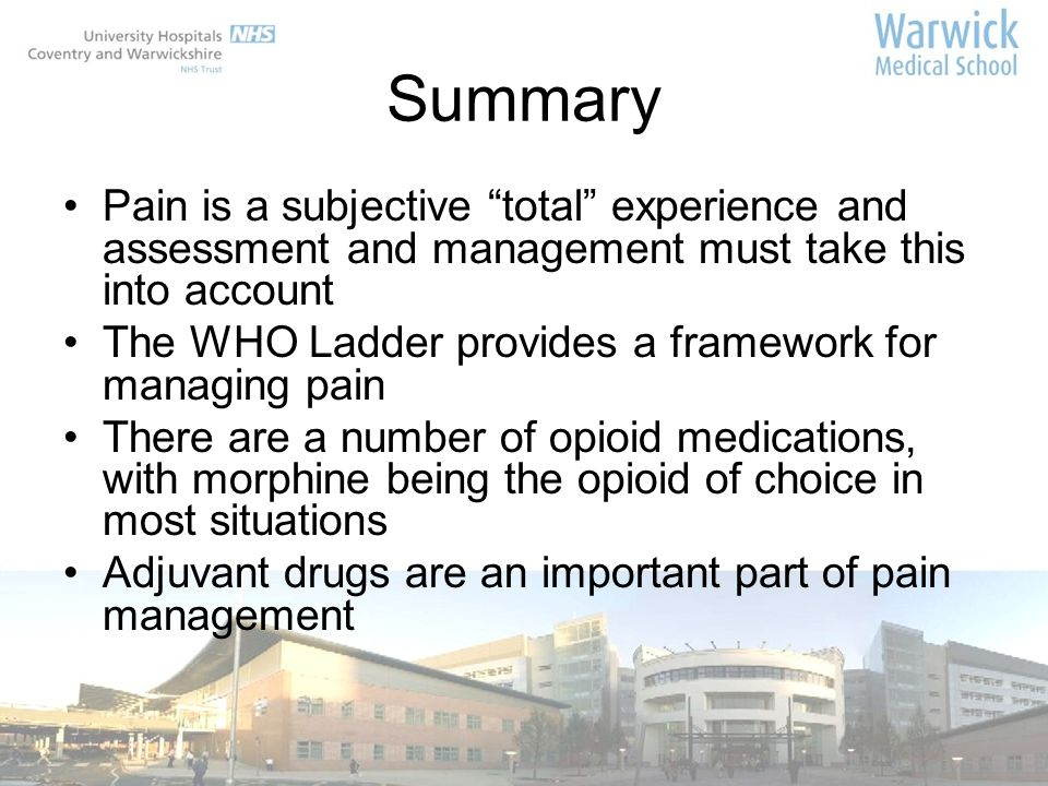 Summary Pain is a subjective total experience and assessment and management must take this into account.