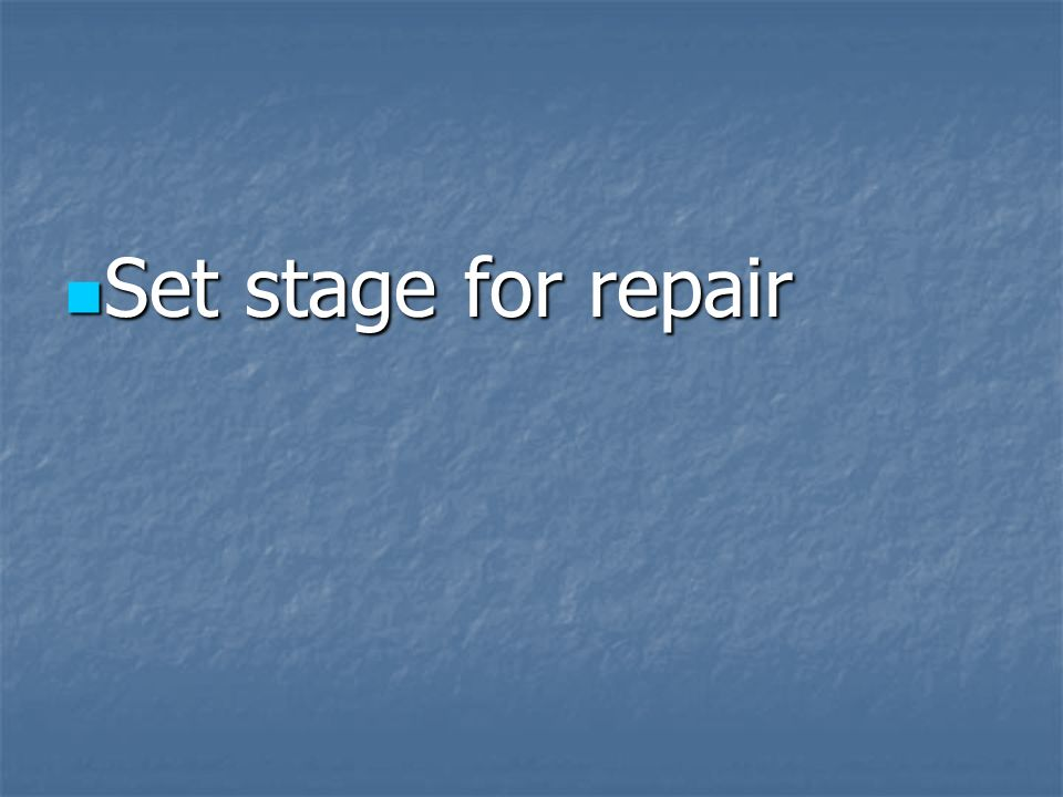 Set stage for repair