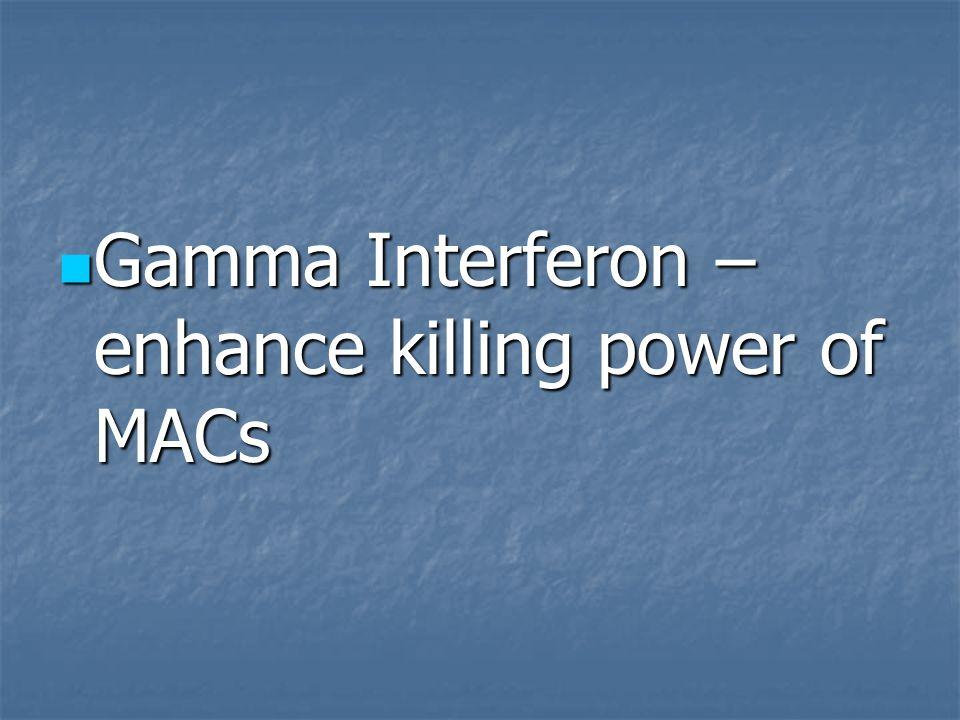 Gamma Interferon – enhance killing power of MACs