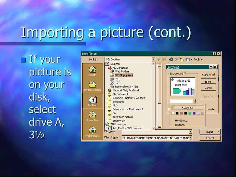 Importing a picture (cont.)