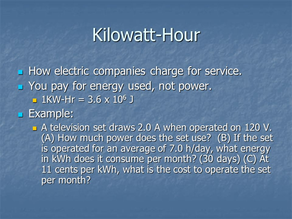 Kilowatt-Hour How electric companies charge for service.