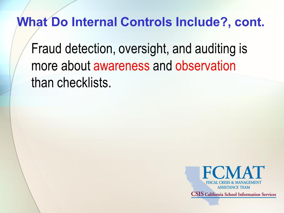 What Do Internal Controls Include , cont.