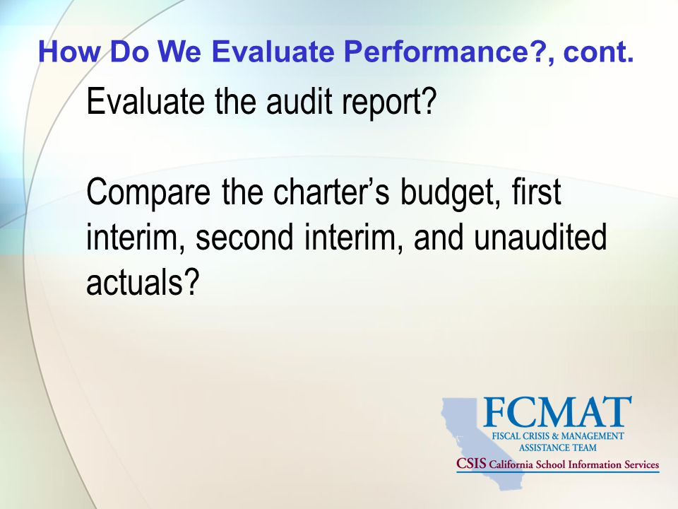 How Do We Evaluate Performance , cont.