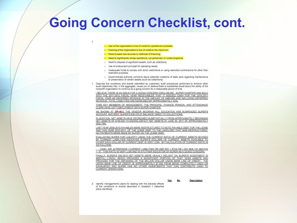 Going Concern Checklist, cont.