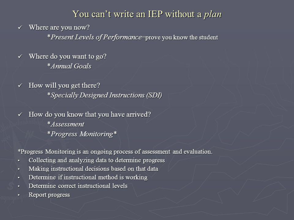 You can't write an IEP without a plan