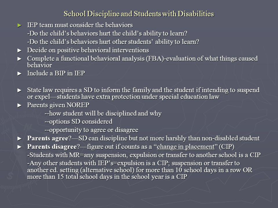 School Discipline and Students with Disabilities