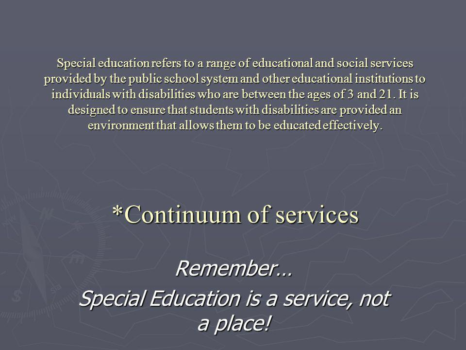 Remember… Special Education is a service, not a place!