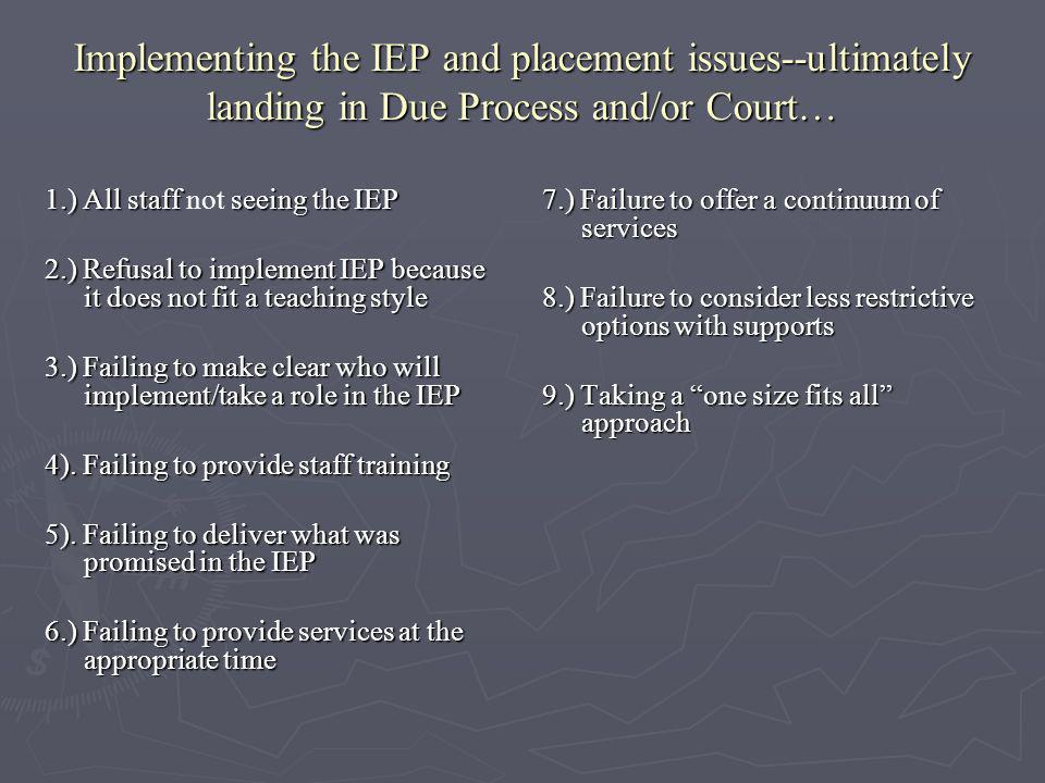 Implementing the IEP and placement issues--ultimately landing in Due Process and/or Court…