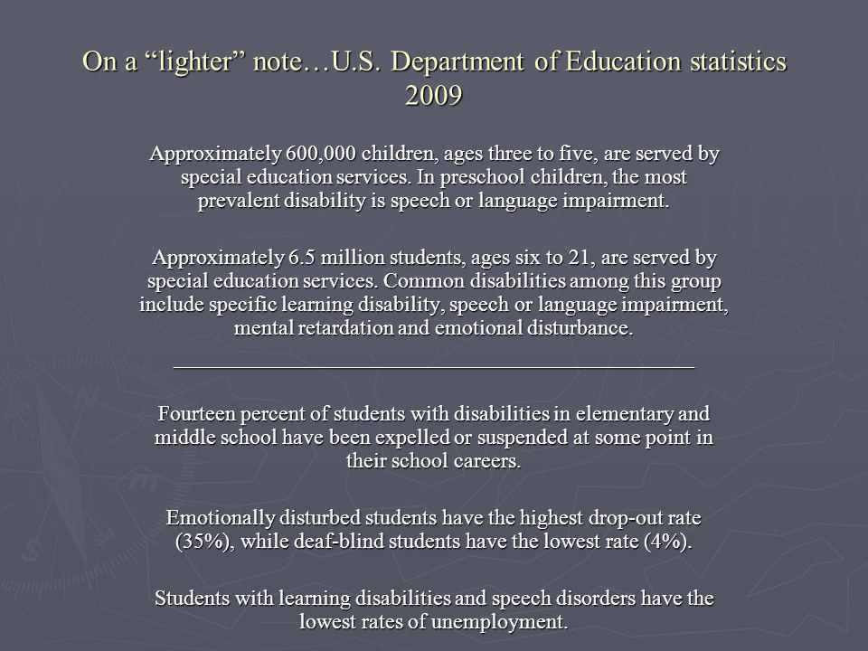 On a lighter note…U.S. Department of Education statistics 2009