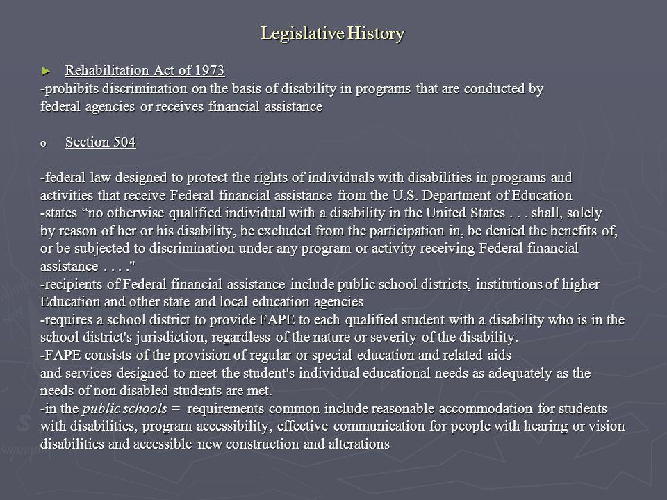 Legislative History Rehabilitation Act of 1973