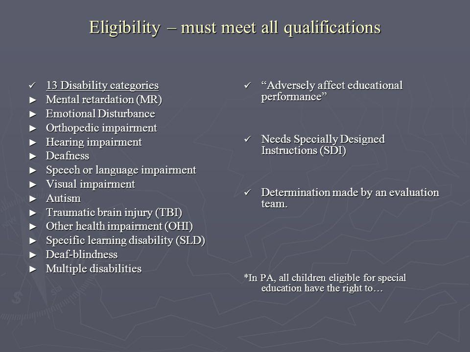Eligibility – must meet all qualifications