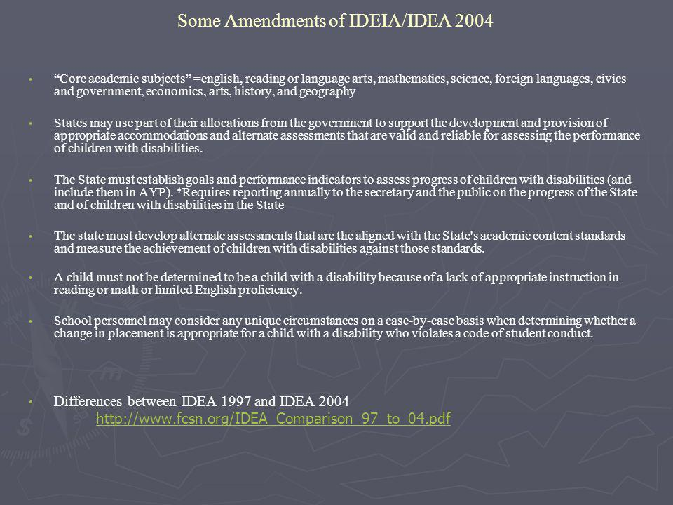 Some Amendments of IDEIA/IDEA 2004