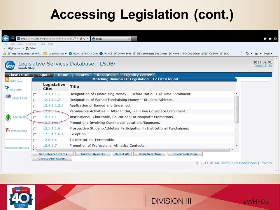Accessing Legislation (cont.)