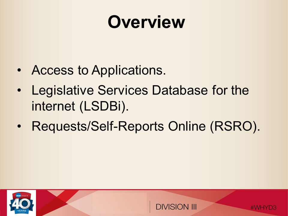 Overview Access to Applications.