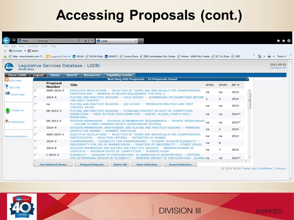Accessing Proposals (cont.)