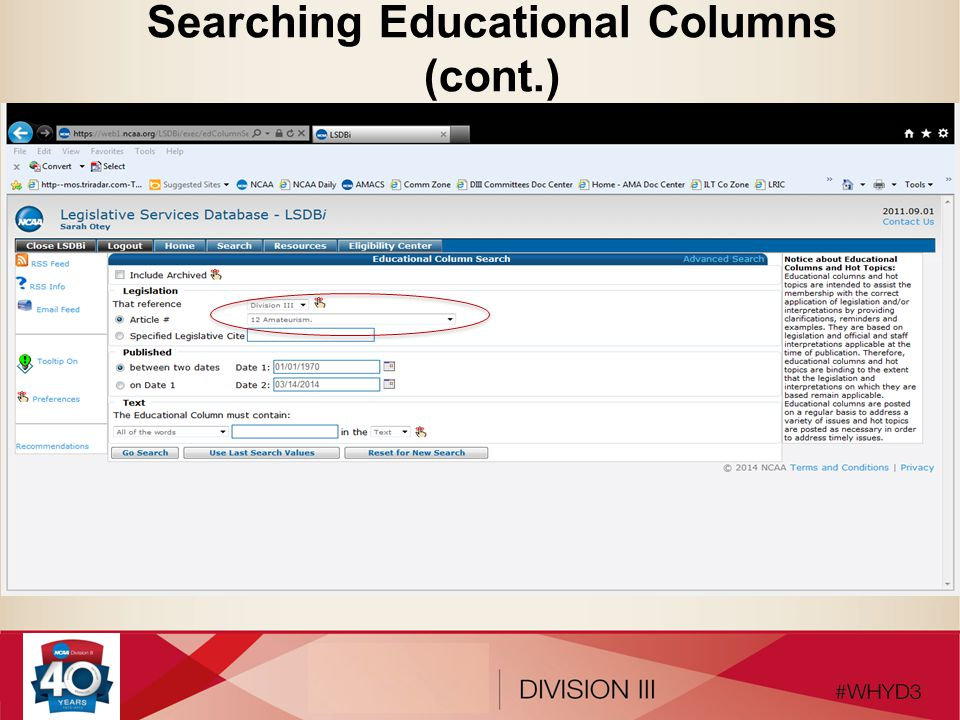Searching Educational Columns (cont.)