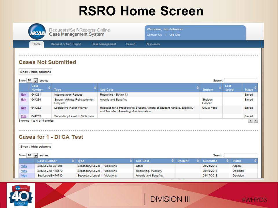 RSRO Home Screen