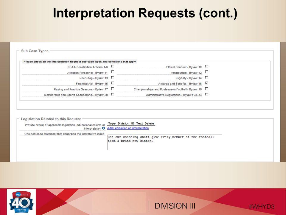 Interpretation Requests (cont.)