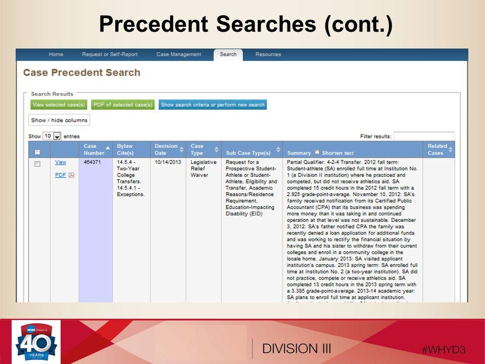 Precedent Searches (cont.)