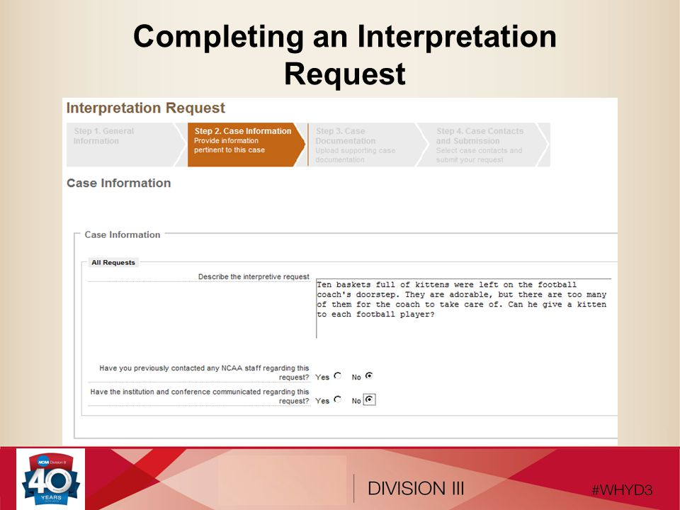 Completing an Interpretation Request