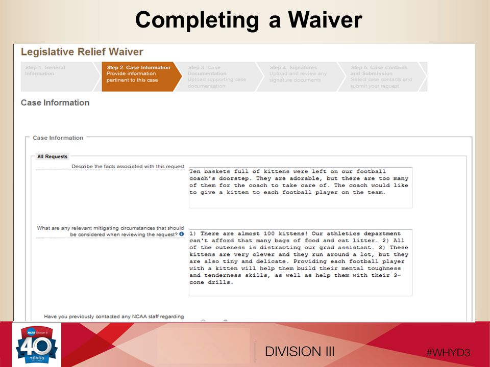 Completing a Waiver